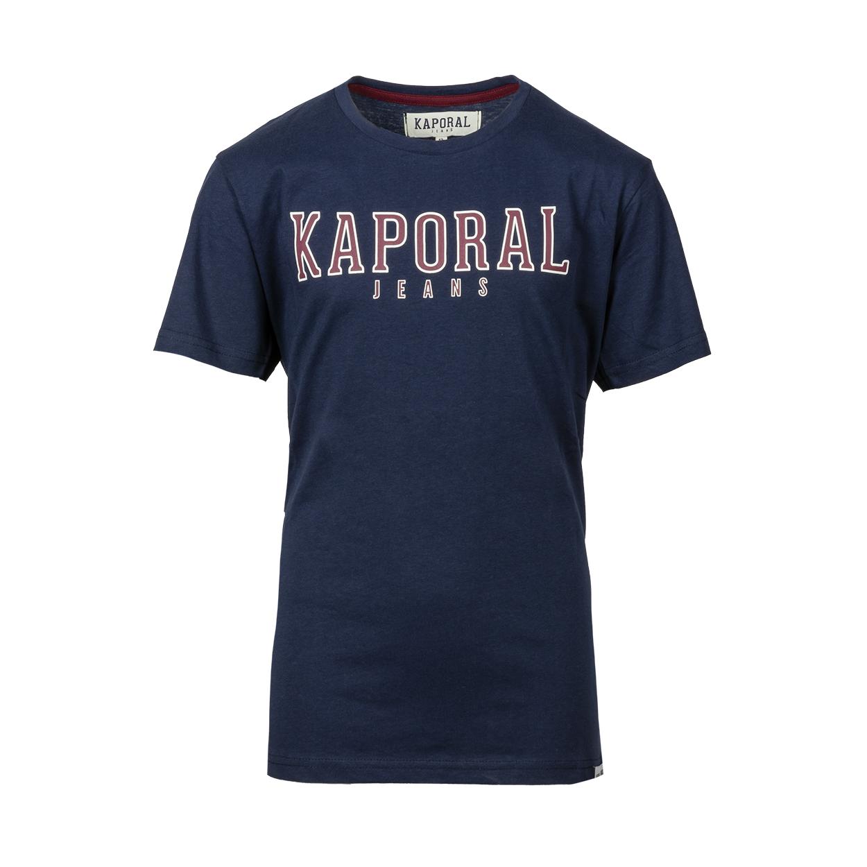 Tee-shirt col rond  orad en coton bleu marine floqué en rouge