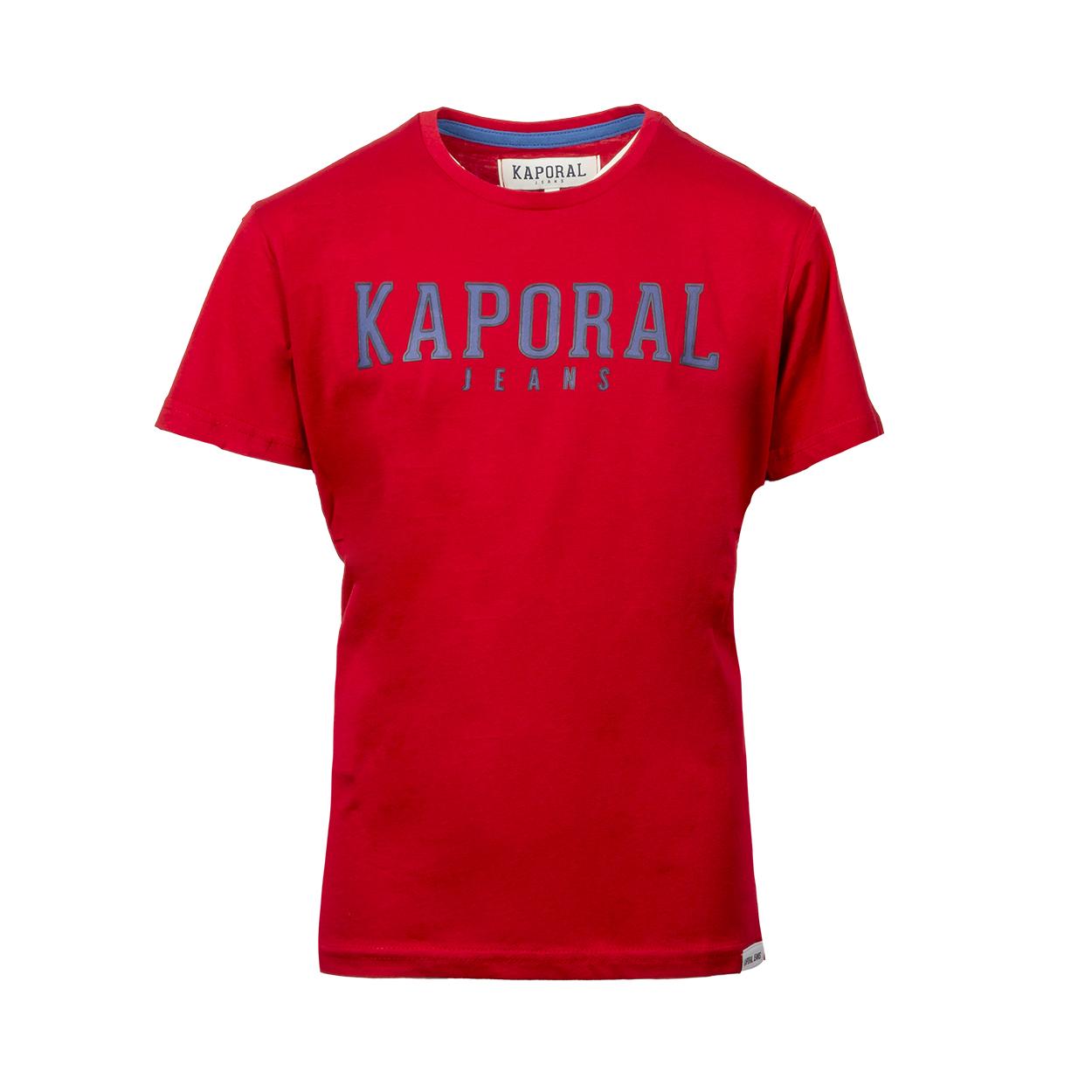 Tee-shirt col rond  orad en coton rouge floqué en noir