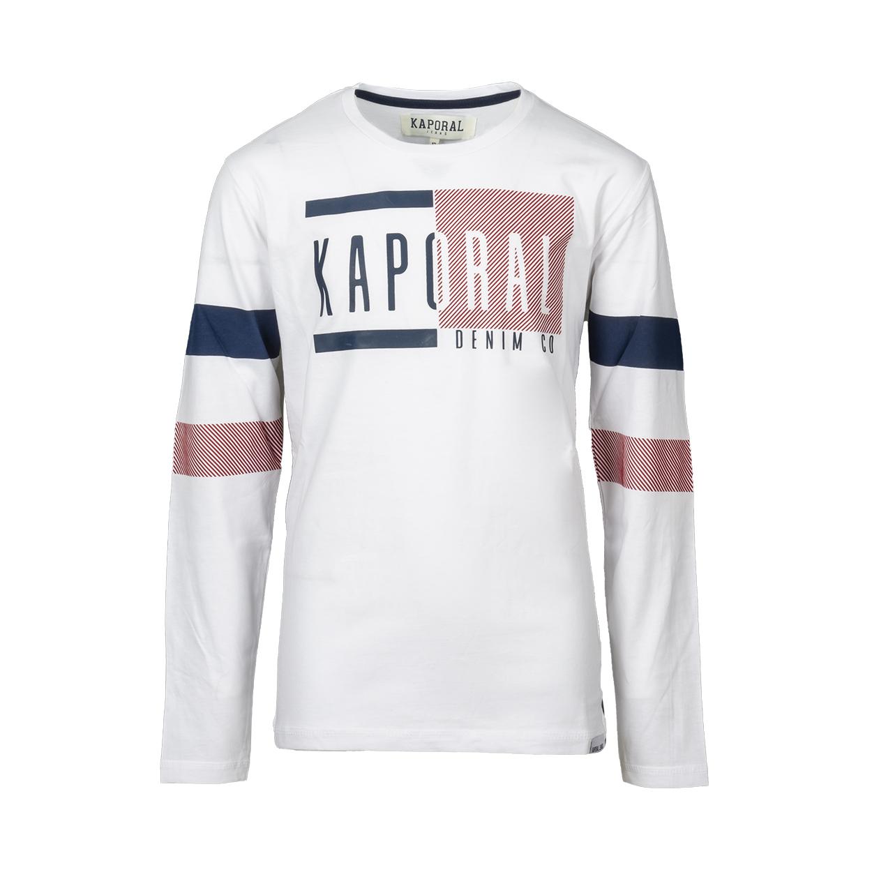 Tee-shirt col rond  otton manches longues en coton blanc