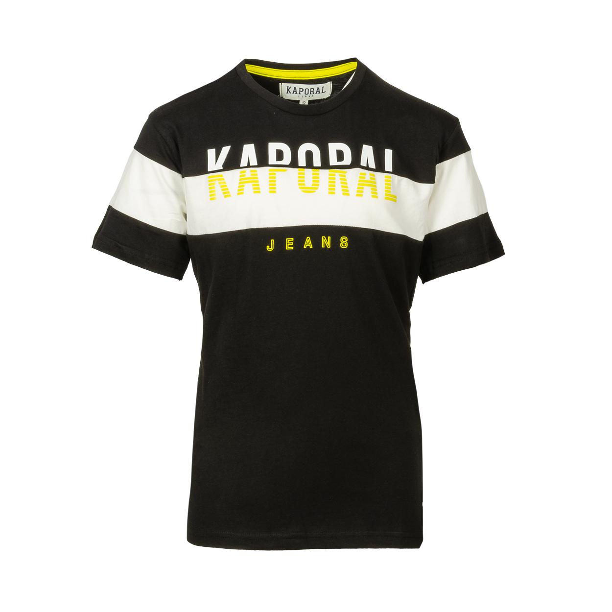 Tee-shirt col rond kaporal onilo en coton noir imprimé blanc et jaune