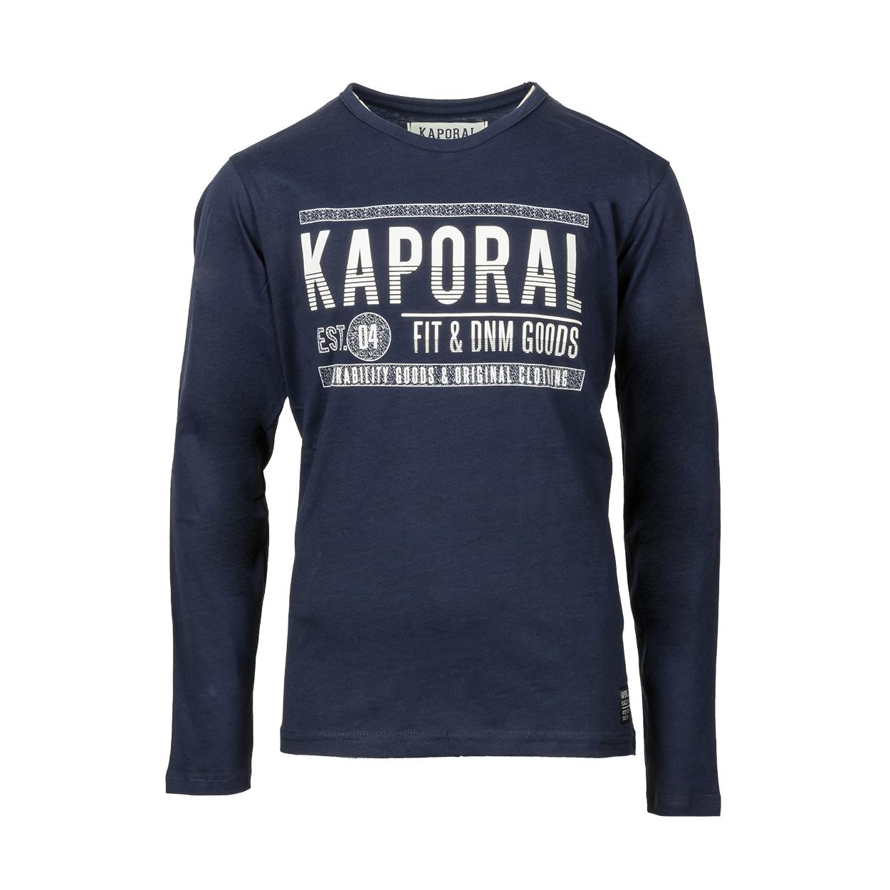 Tee-shirt manches longues col rond kaporal ovni en coton noir imprimé blanc