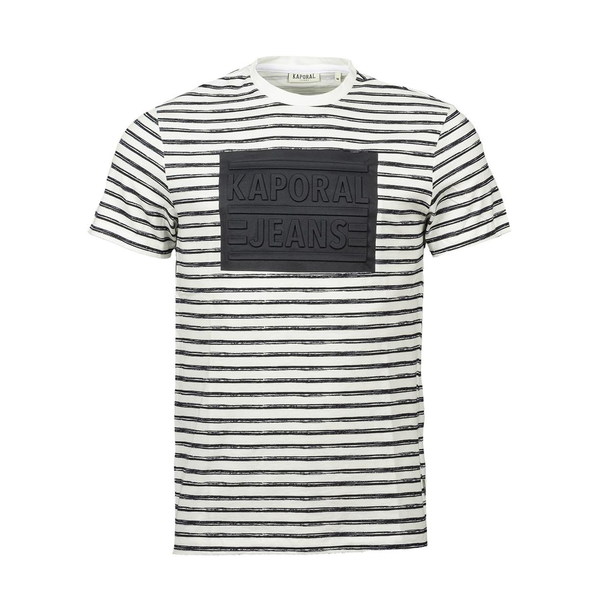 Tee-shirt marinière col rond Kaporal en coton blanc et noir floqué noir