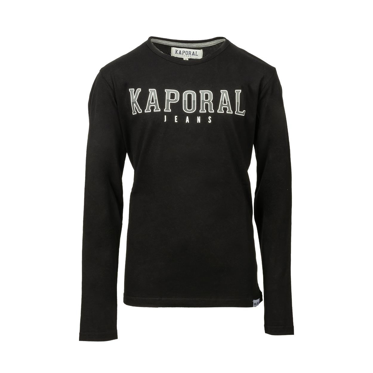 Tee-shirt col rond kaporal onard manches longues en coton noir imprimé gris