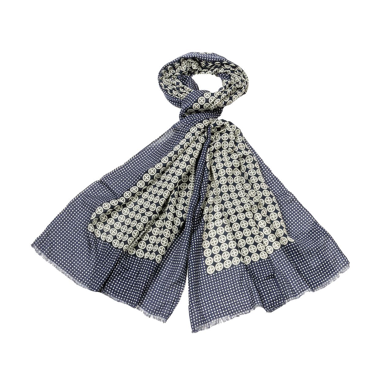 Chèche  imprimé en coton bleu marine à pois et motifs blancs
