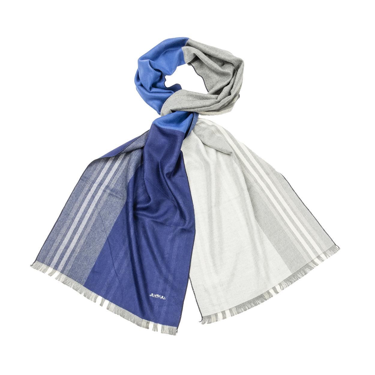 Echarpe  bleue colorblock et rayures grises
