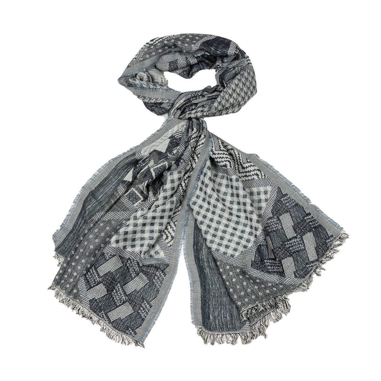 Chèche  gris clair à motifs gris anthracite