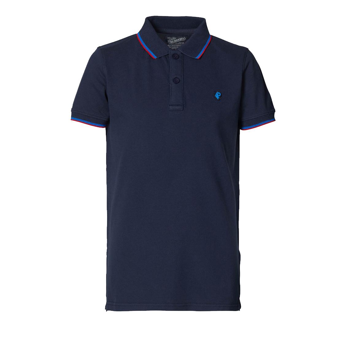 Polo  en coton stretch bleu nuit