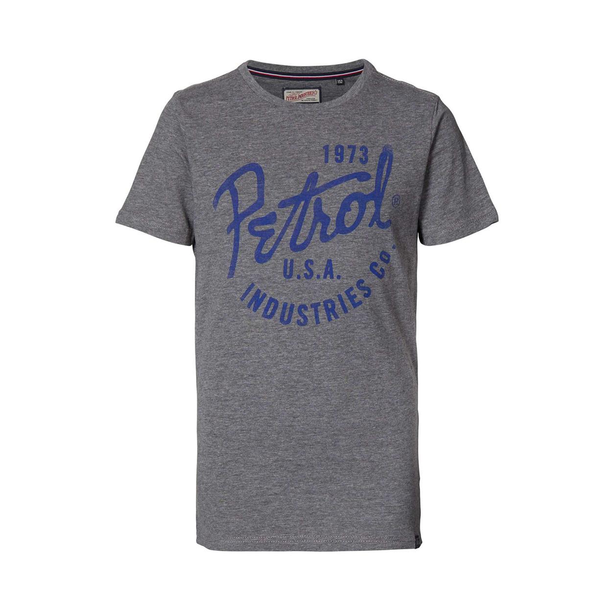Tee-shirt manches courtes  en coton gris chiné floqué