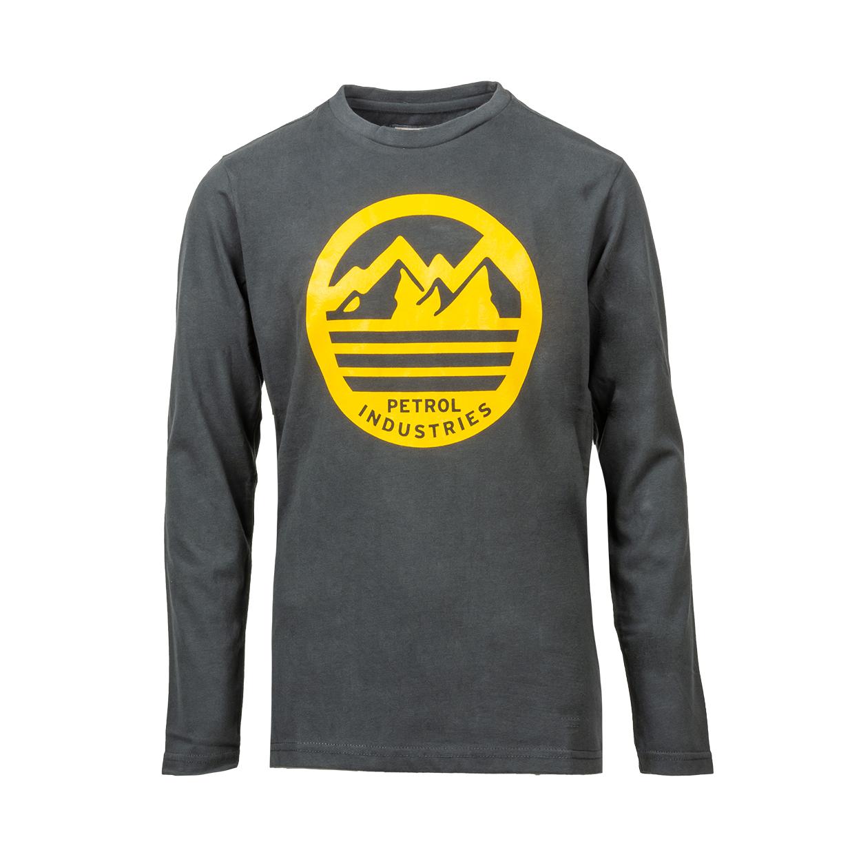 Tee-shirt manches longues  en coton gris foncé floqué jaune