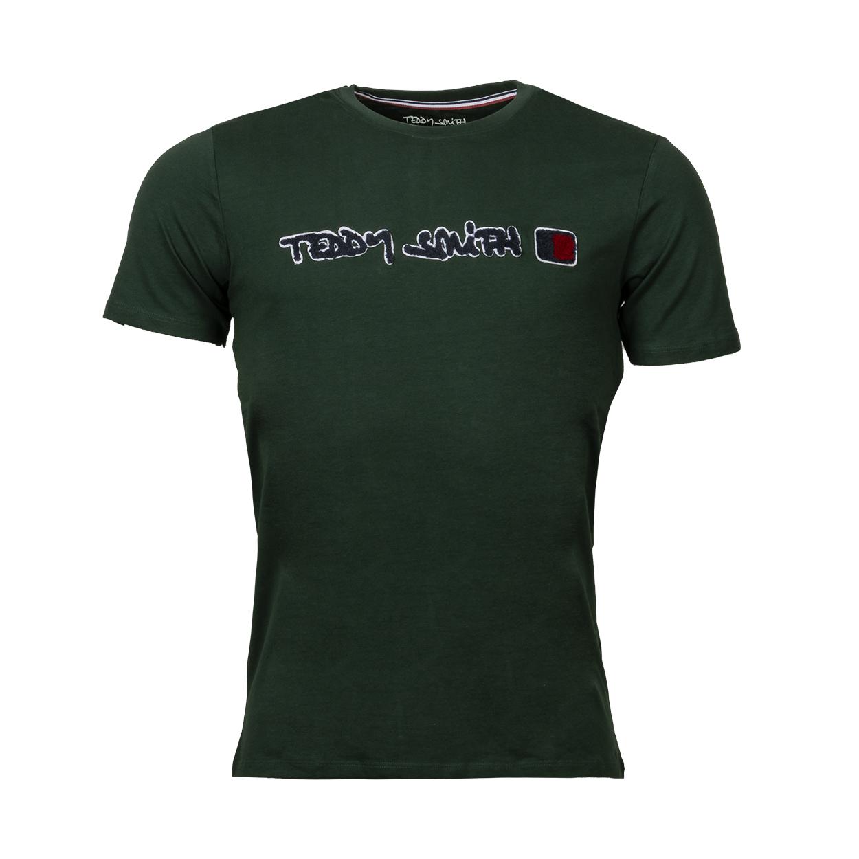 Tee-shirt col rond  tclap en coton vert sapin floqué bleu marine