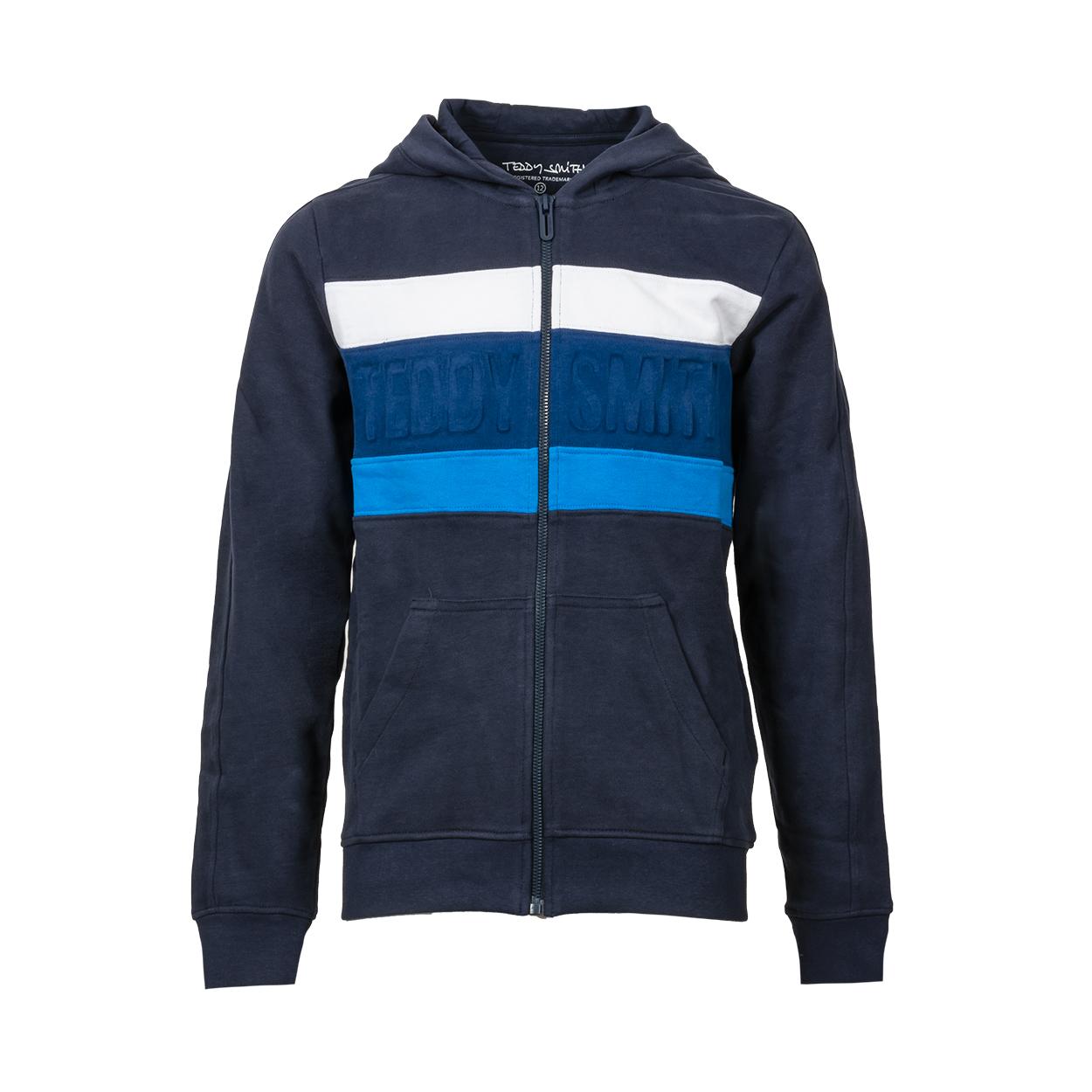 Sweat à capuche zippé teddy smith any en coton colorblock blanc, bleu marine, bleu nuit et bleu électrique