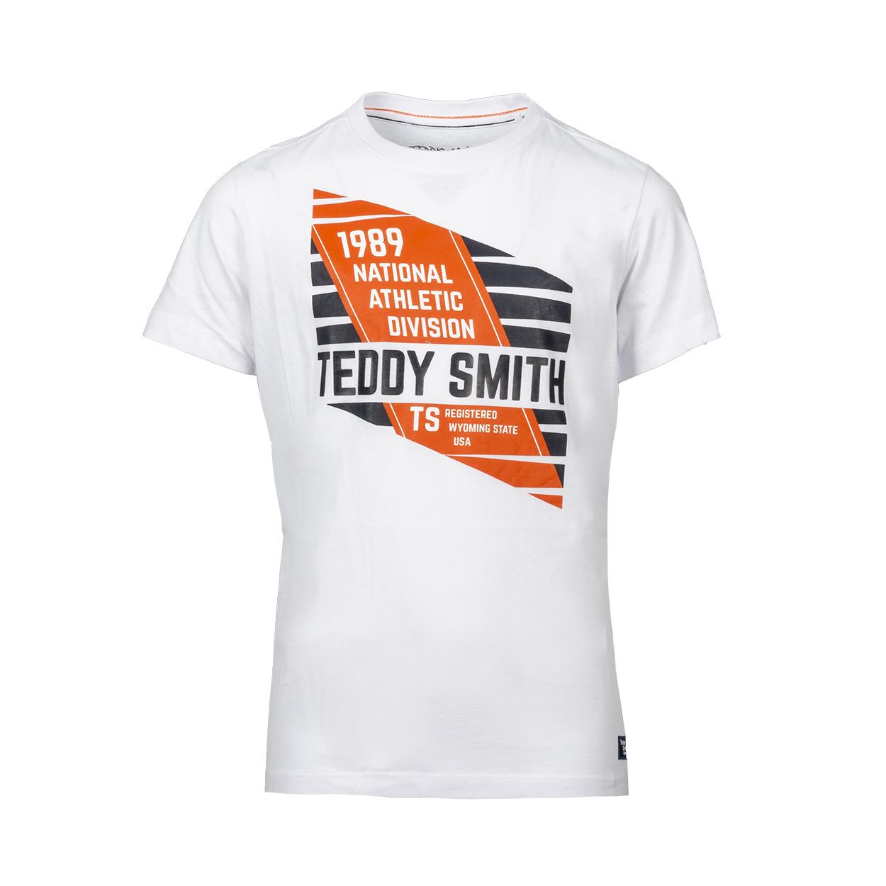 Tee-shirt col rond  t-arrow en coton blanc floqué en orange et bleu nuit
