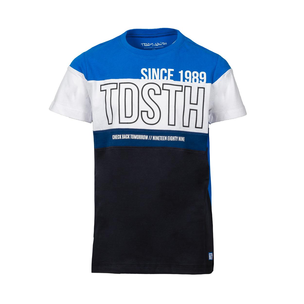 Tee-shirt col rond  t-bou en coton colorblock bleu électrique, blanc, bleu marine et bleu nuit
