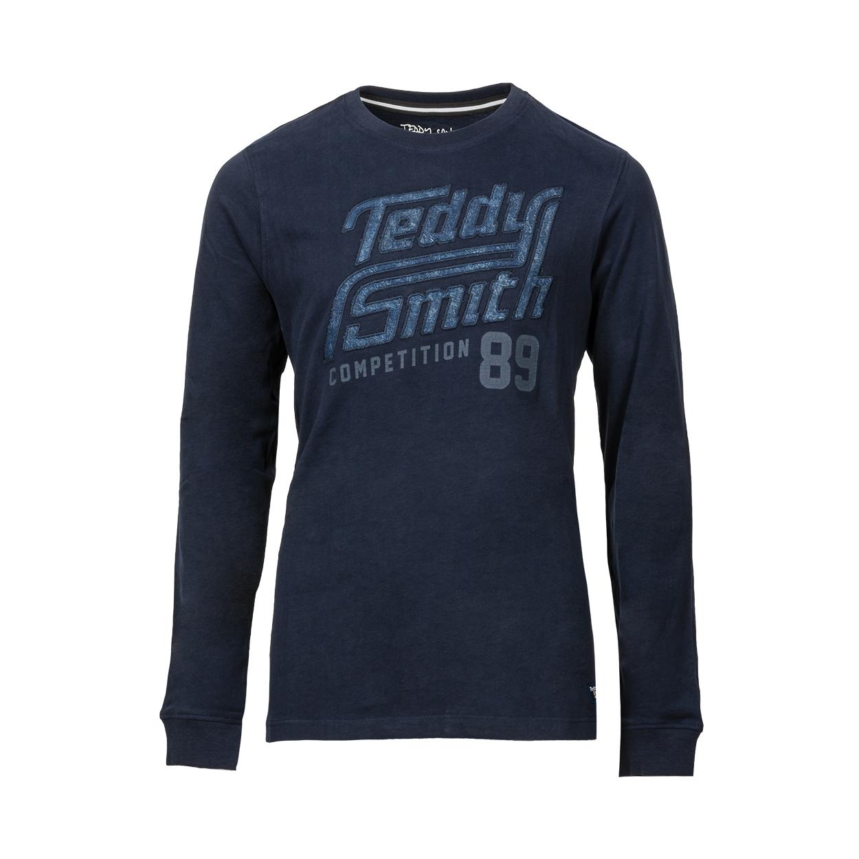 Tee-shirt manches longues  en coton bleu nuit