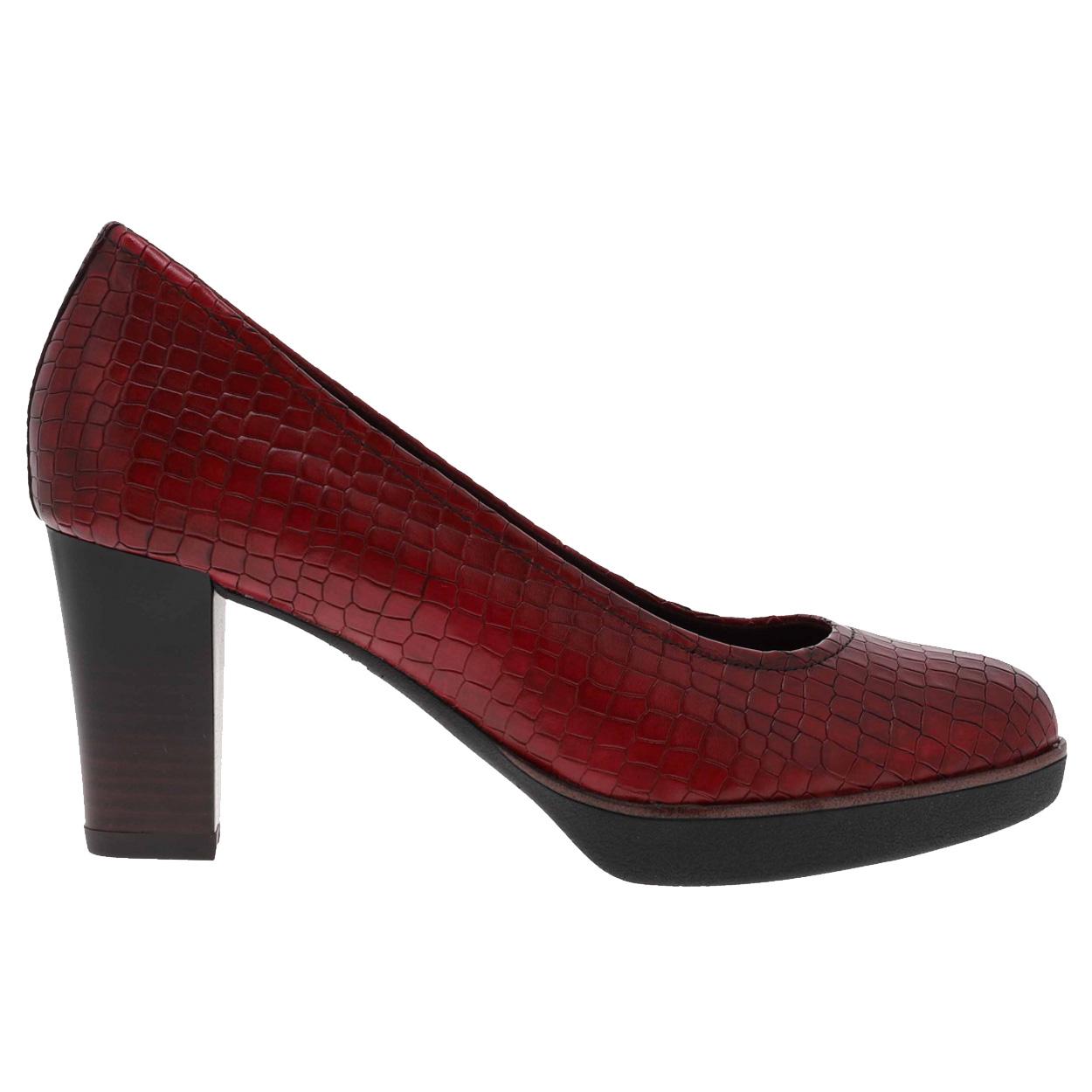 Escarpins femmes Tamaris Scarlet en cuir rouge bordeaux effet croco