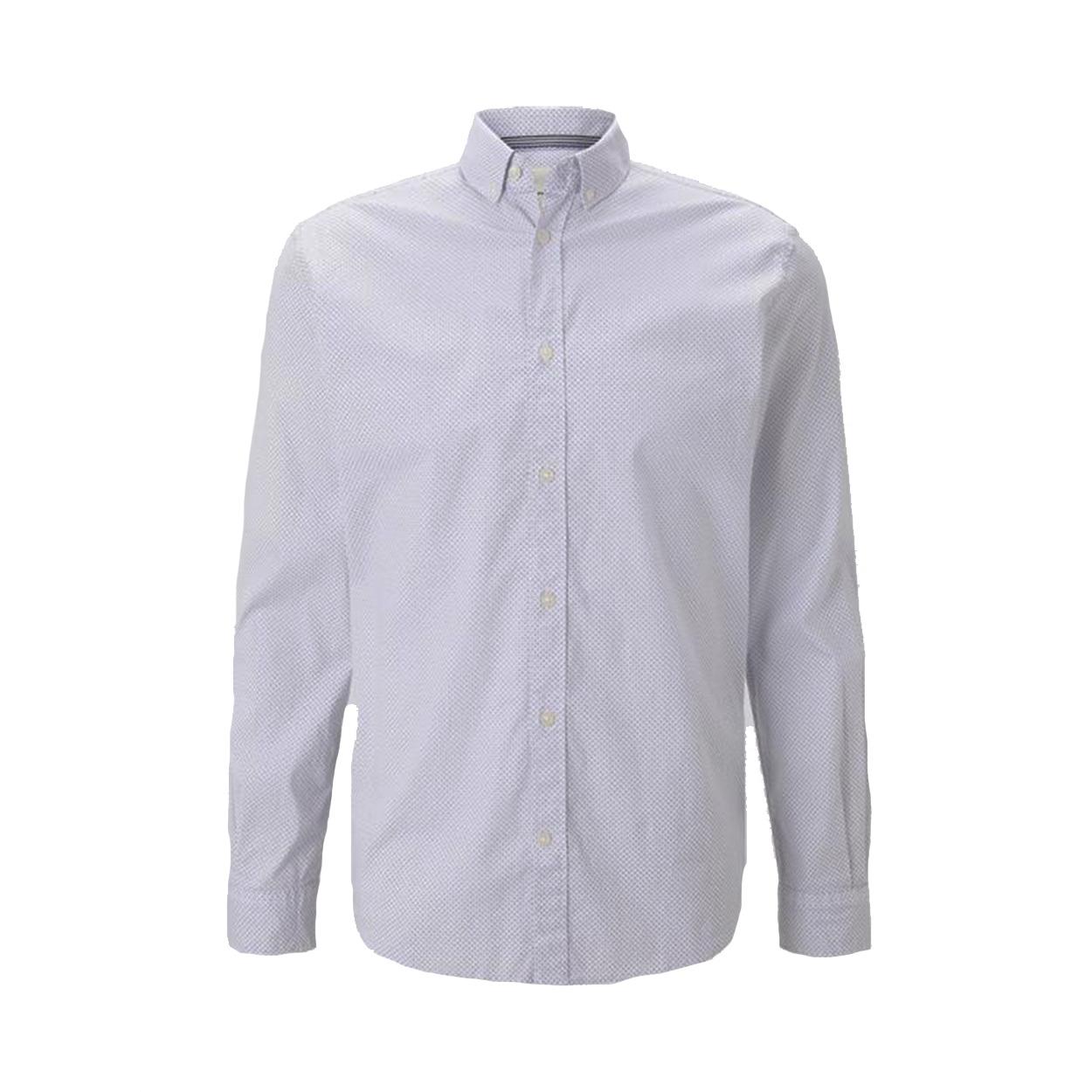 Chemise ajustée  en coton stretch blanc à micros motifs noirs et bleus