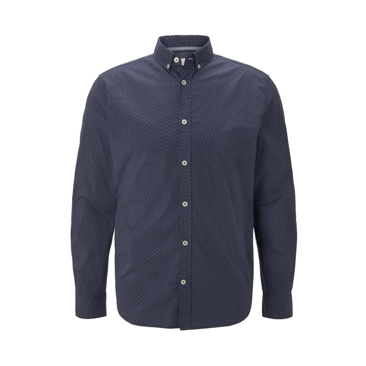 Chemise ajustée  en coton stretch bleu marine à micros motifs blancs et bleus