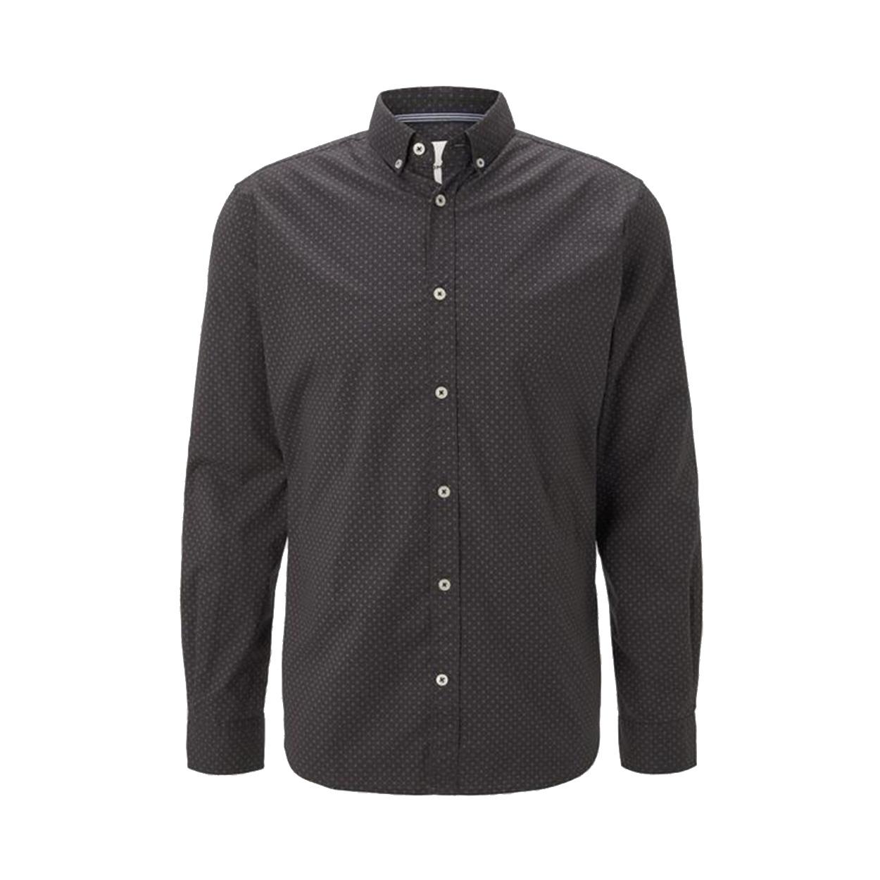 Chemise ajustée  en coton stretch noir à micros motifs blancs et rouges