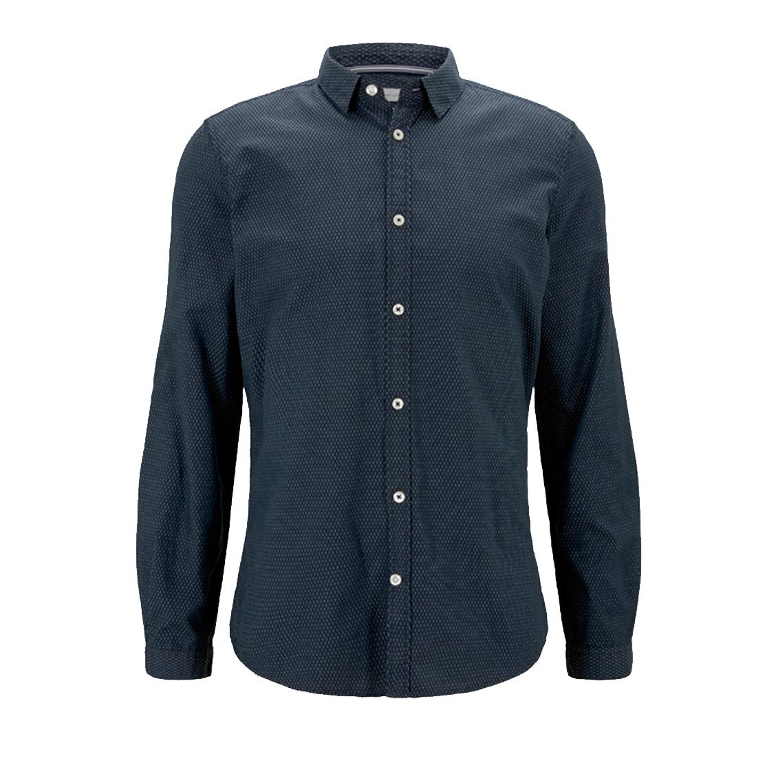 Chemise coupe ajustée  en coton bleu marine à micro motifs blancs