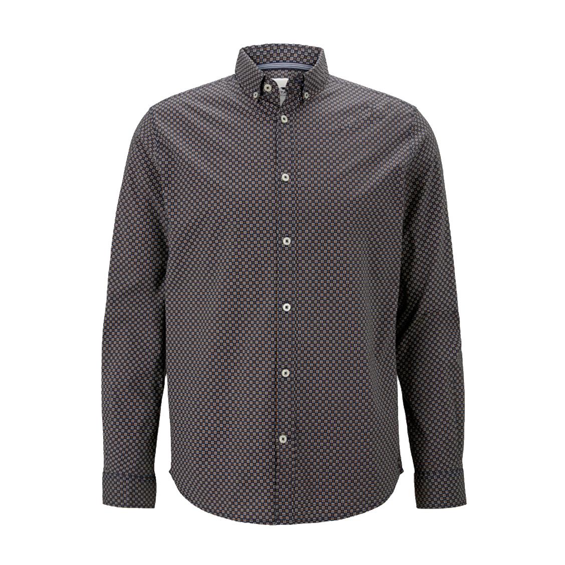 Chemise coupe droite  en coton stretch bleu marine à micro motifs blancs et camel