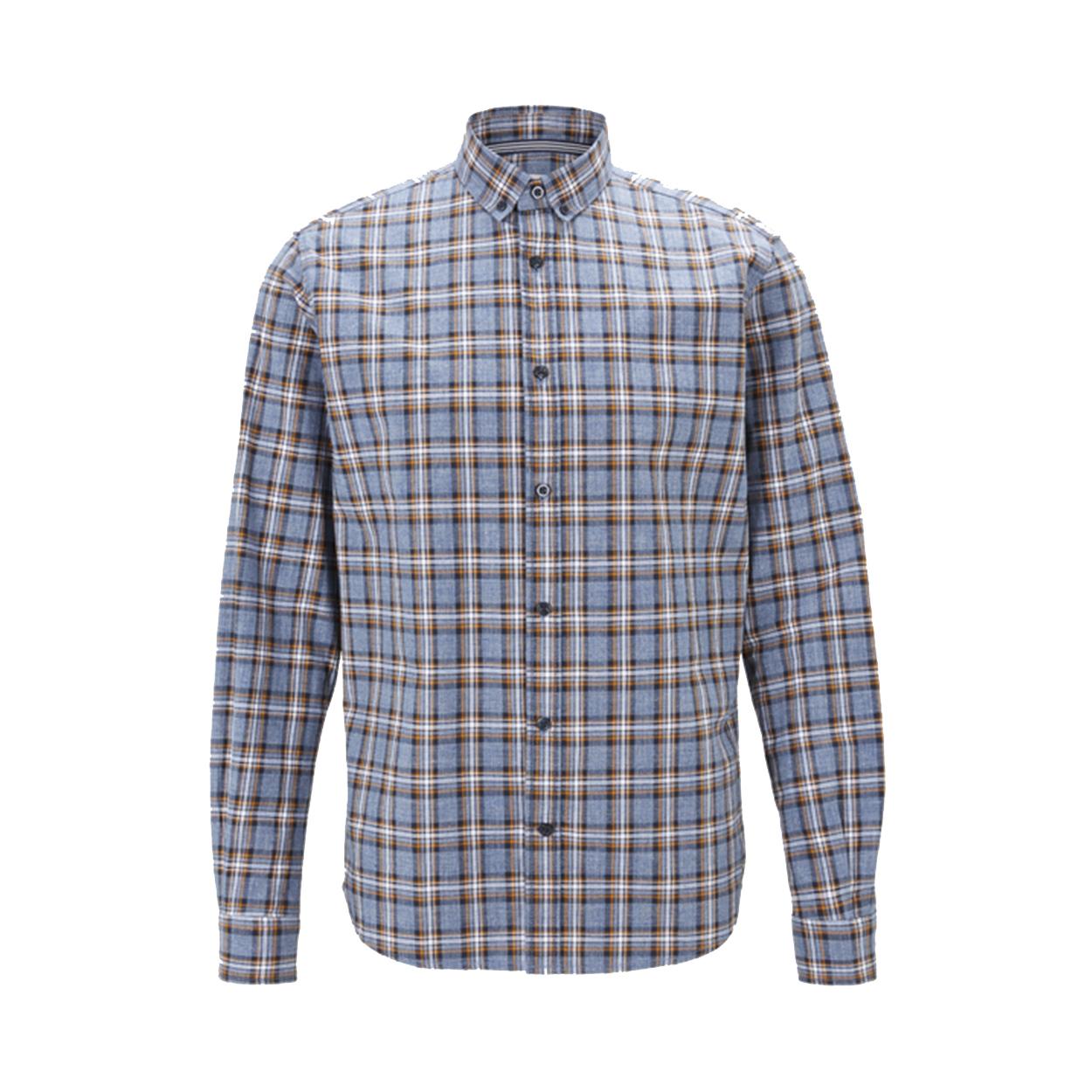 Chemise droite  en coton à carreaux bleu, orange et blanc
