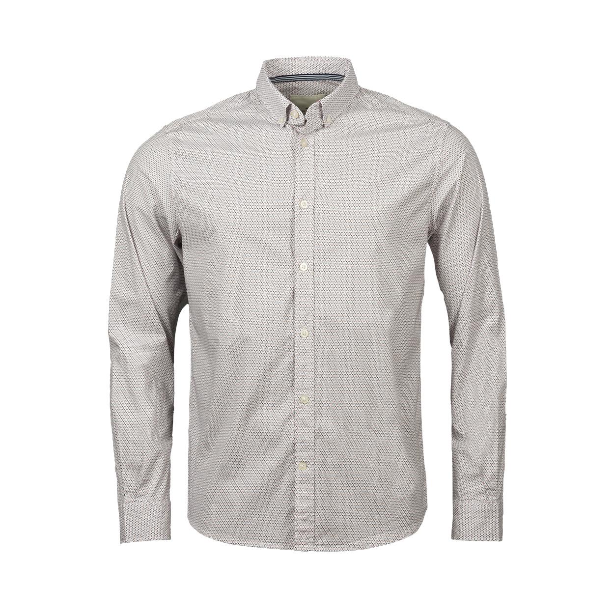 Chemise coupe droite  en coton stretch blanc à micros motifs bleu marine et rouges