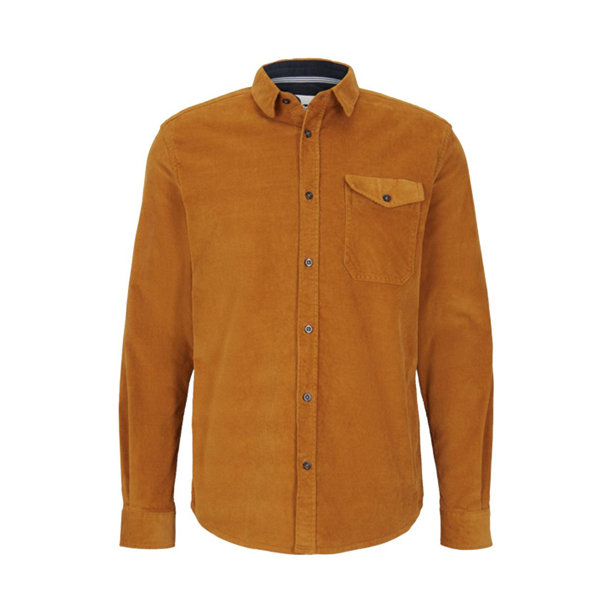 Chemise droite Tom Tailor en coton stretch orange effet velours côtelé