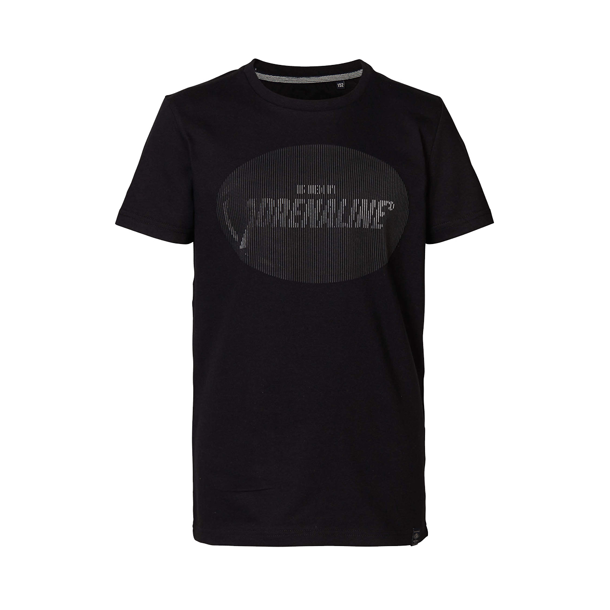 Tee-shirt col rond  en coton noir à logo blanc et noir en relief