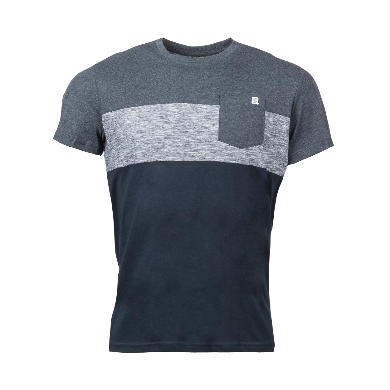 Tee-shirt col rond  cutline en coton mélangé colorblock bleu chiné et bleu marine
