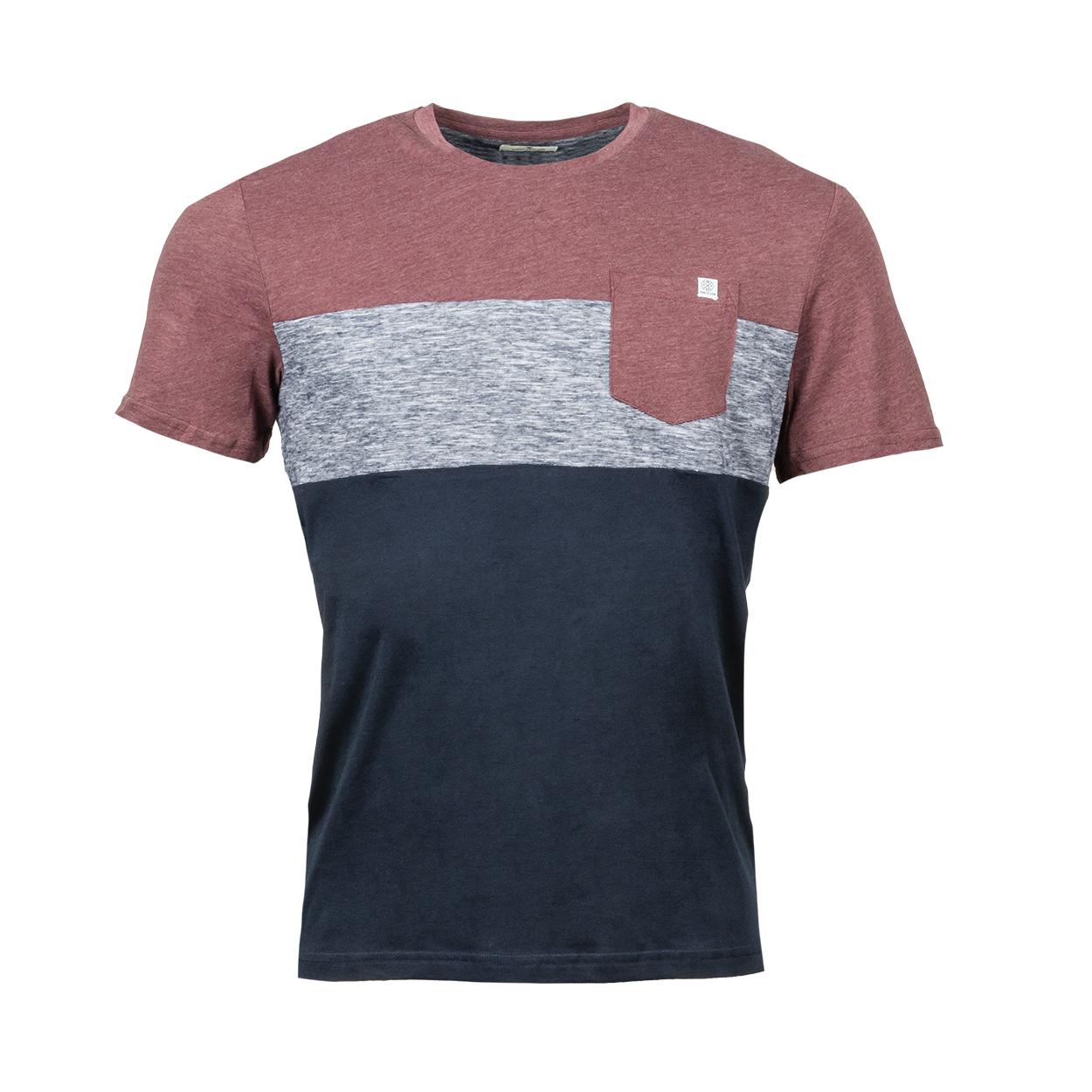 Tee-shirt col rond  en coton mélangé colorblock bordeaux, bleu chiné et bleu marine
