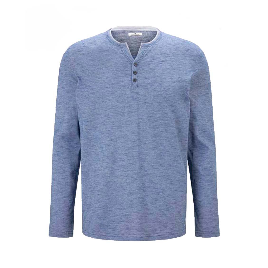 Tee-shirt manches longues Tom Tailor en coton rayé bleu denim et blanc