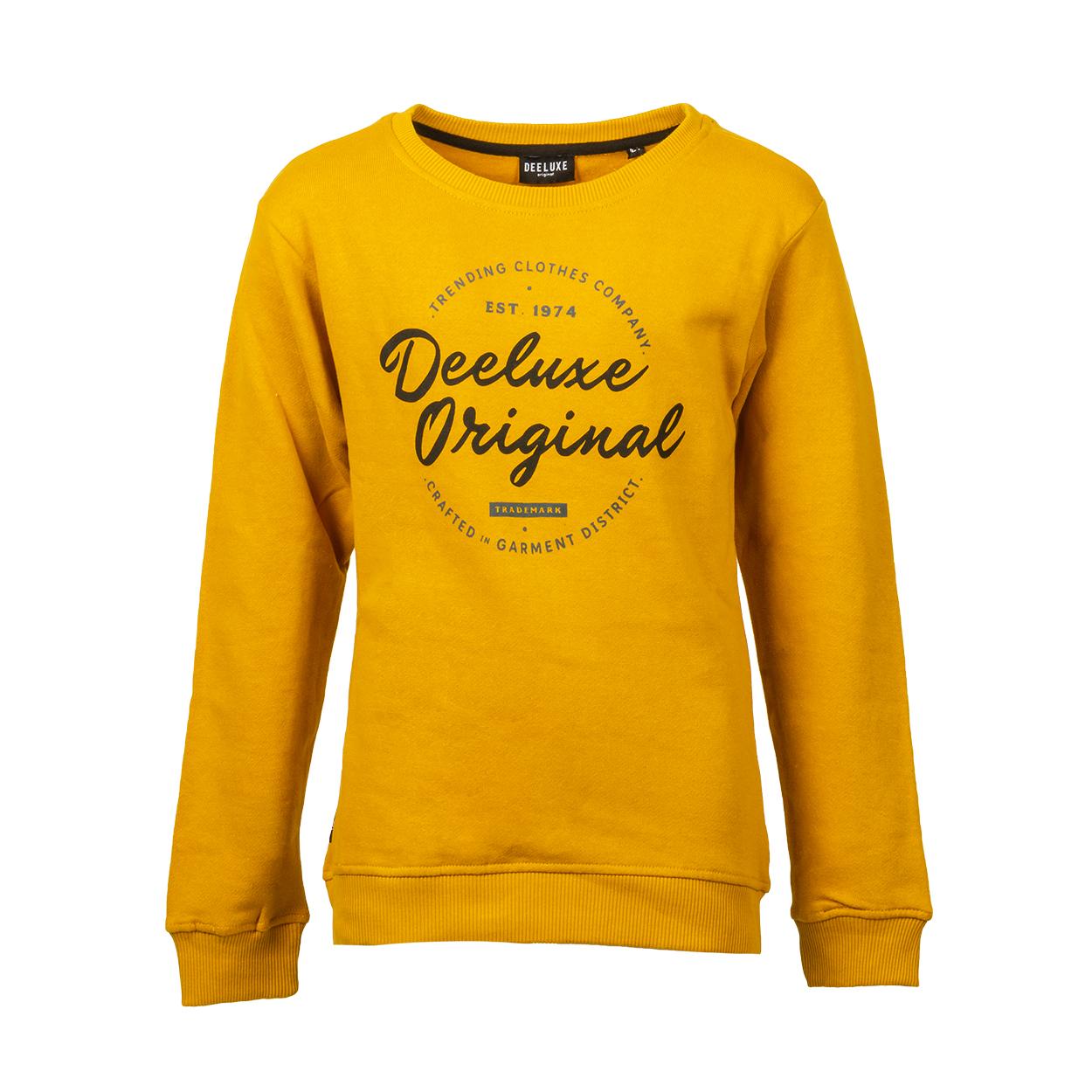 Sweat col rond  nilson en coton mélangé jaune moutarde floqué