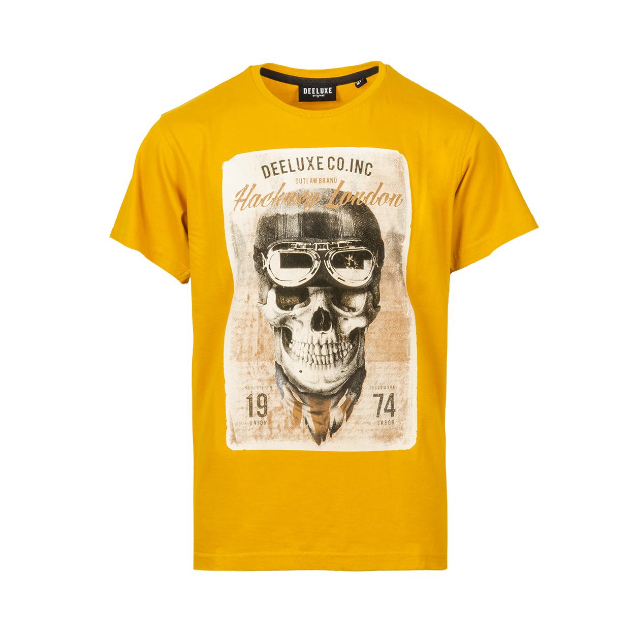 Tee-shirt col rond  clem en coton jaune moutarde floqué