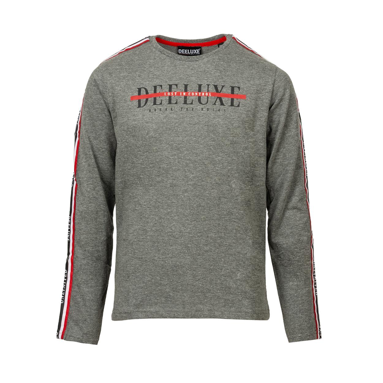 Tee-shirt manches longues  ralfy en coton gris chiné floqué en gris anthracite et rouge
