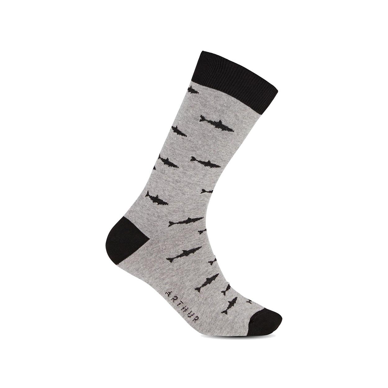 Chaussettes hautes  en coton mélangé gris chiné à motifs requins noirs