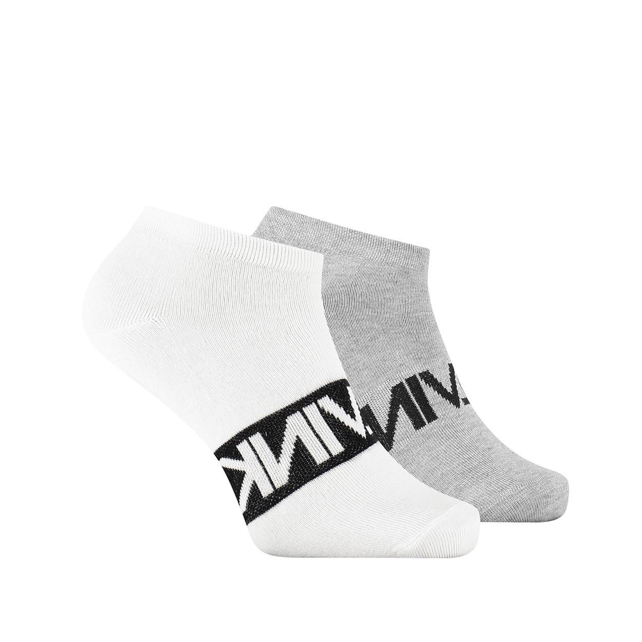 Lot de 2 paires de chaussettes basses calvin klein en coton mélangé stretch blanc et gris imprimés en noir