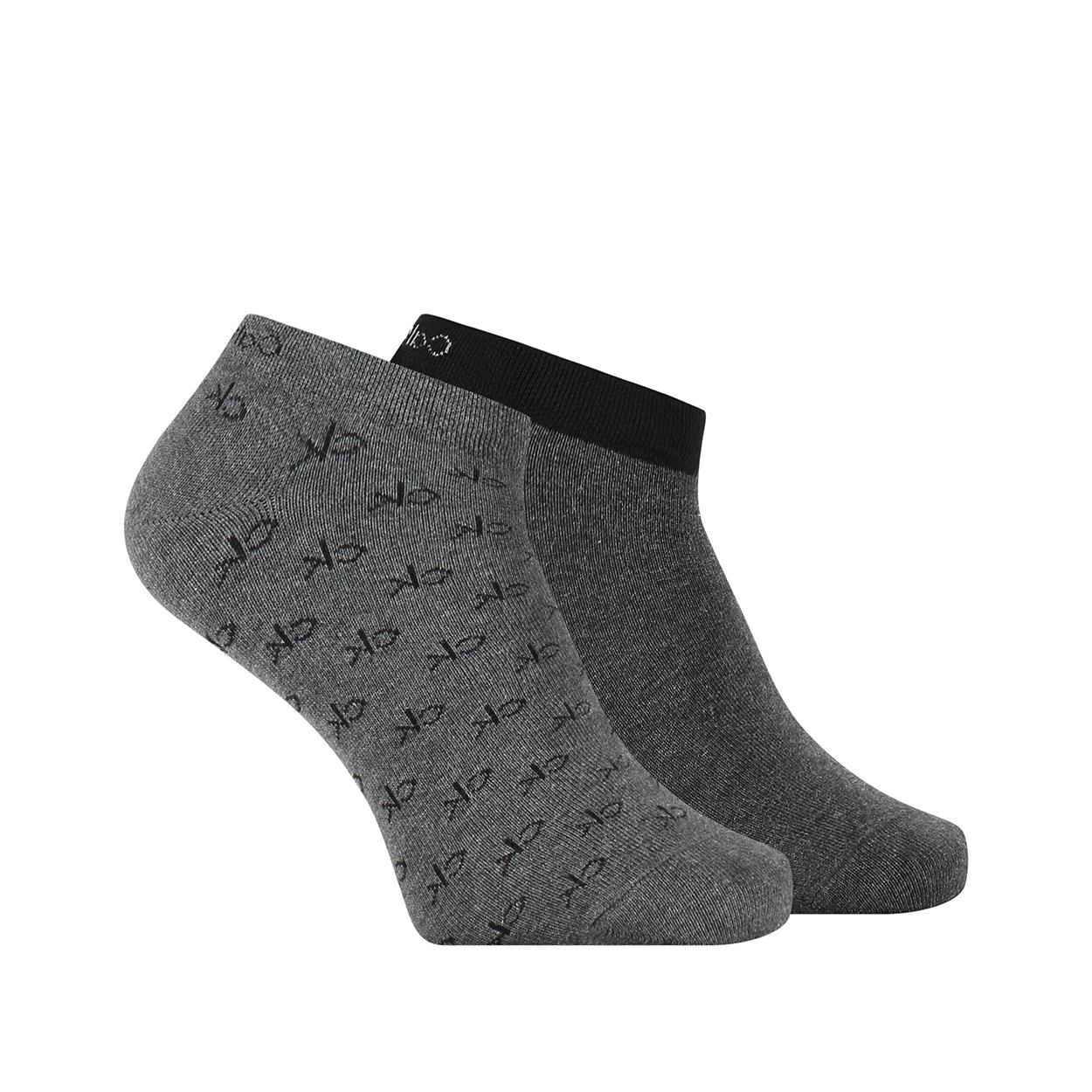 Lot de 2 paires de chaussettes basses calvin klein en coton mélangé stretch gris anthracite et gris chiné imprimé