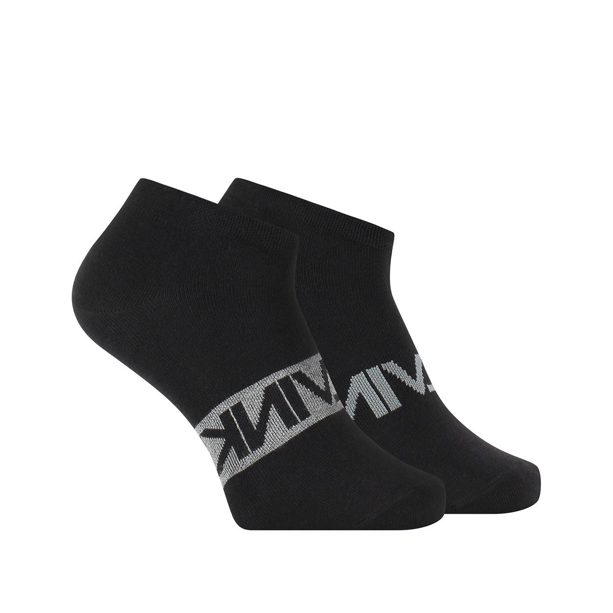 Lot de 2 paires de chaussettes basses calvin klein en coton mélangé stretch noir imprimé en gris
