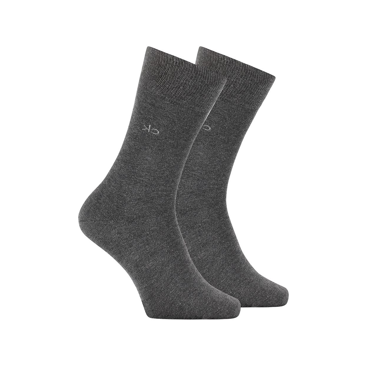 Lot de 2 paires de chaussettes hautes calvin klein en coton mélangé stretch gris anthracite