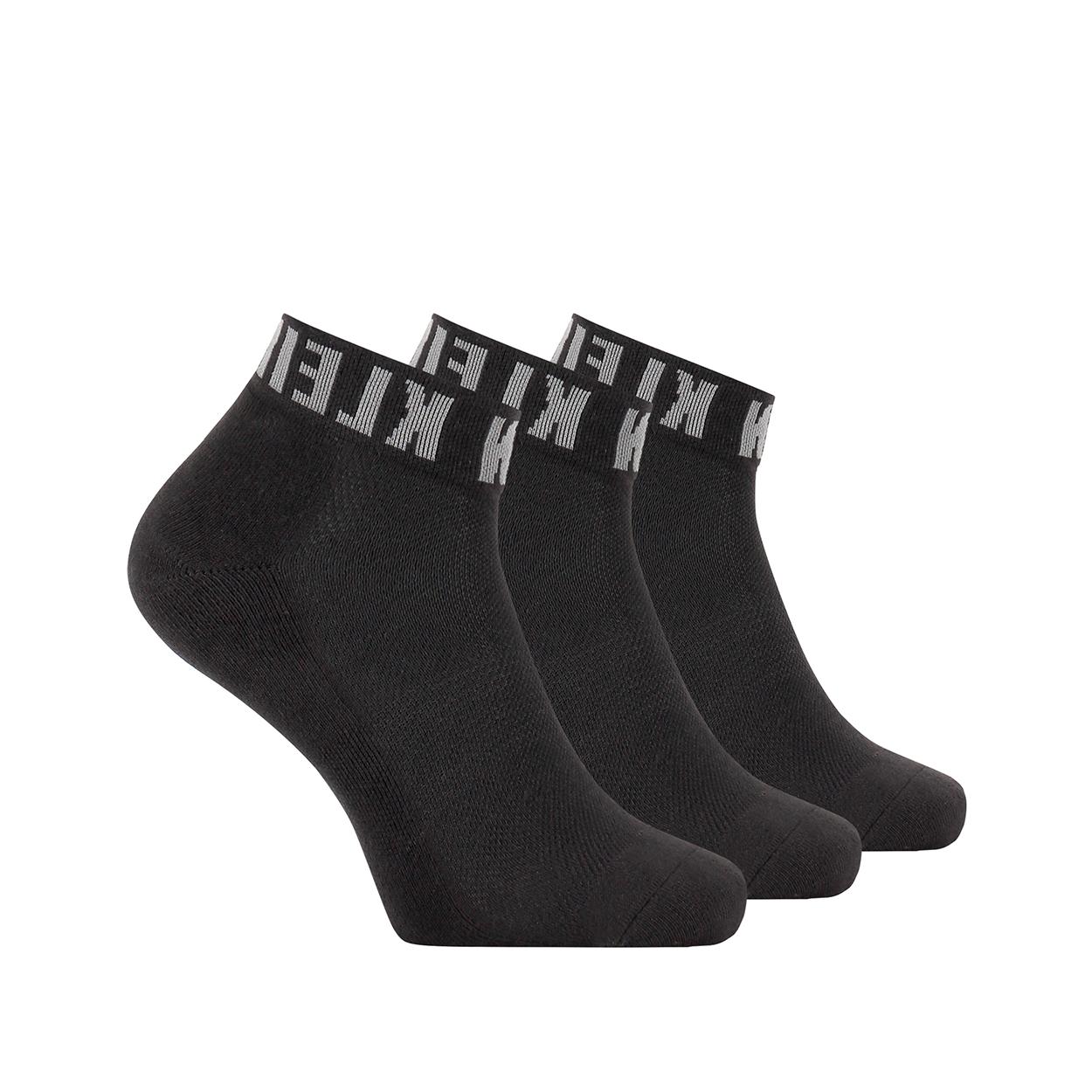 Lot de 3 paires de chaussettes basses calvin klein en coton mélangé stretch noir à logo gris
