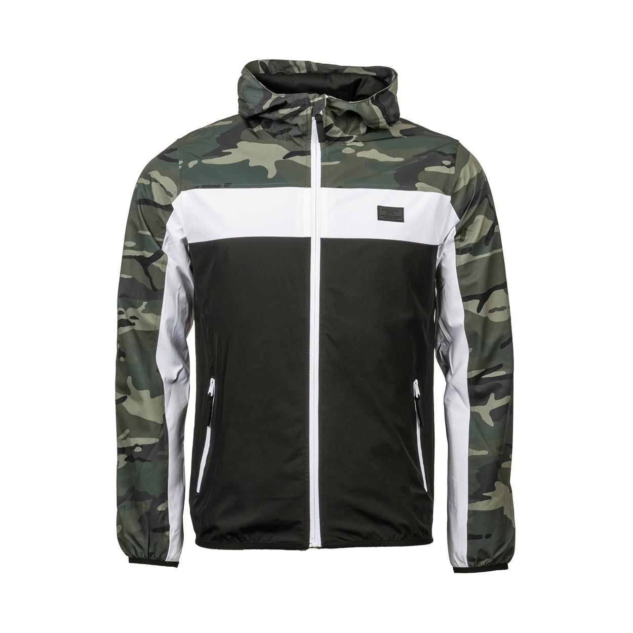 Veste coupe-vent à capuche deeluxe est.74 frizzy colorblock noir, blanc et motif camouflage