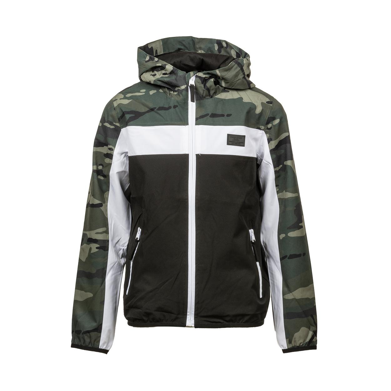 Veste coupe-vent à capuche deeluxe est.74 junior frizzy colorblock noir, blanc et motif camouflage
