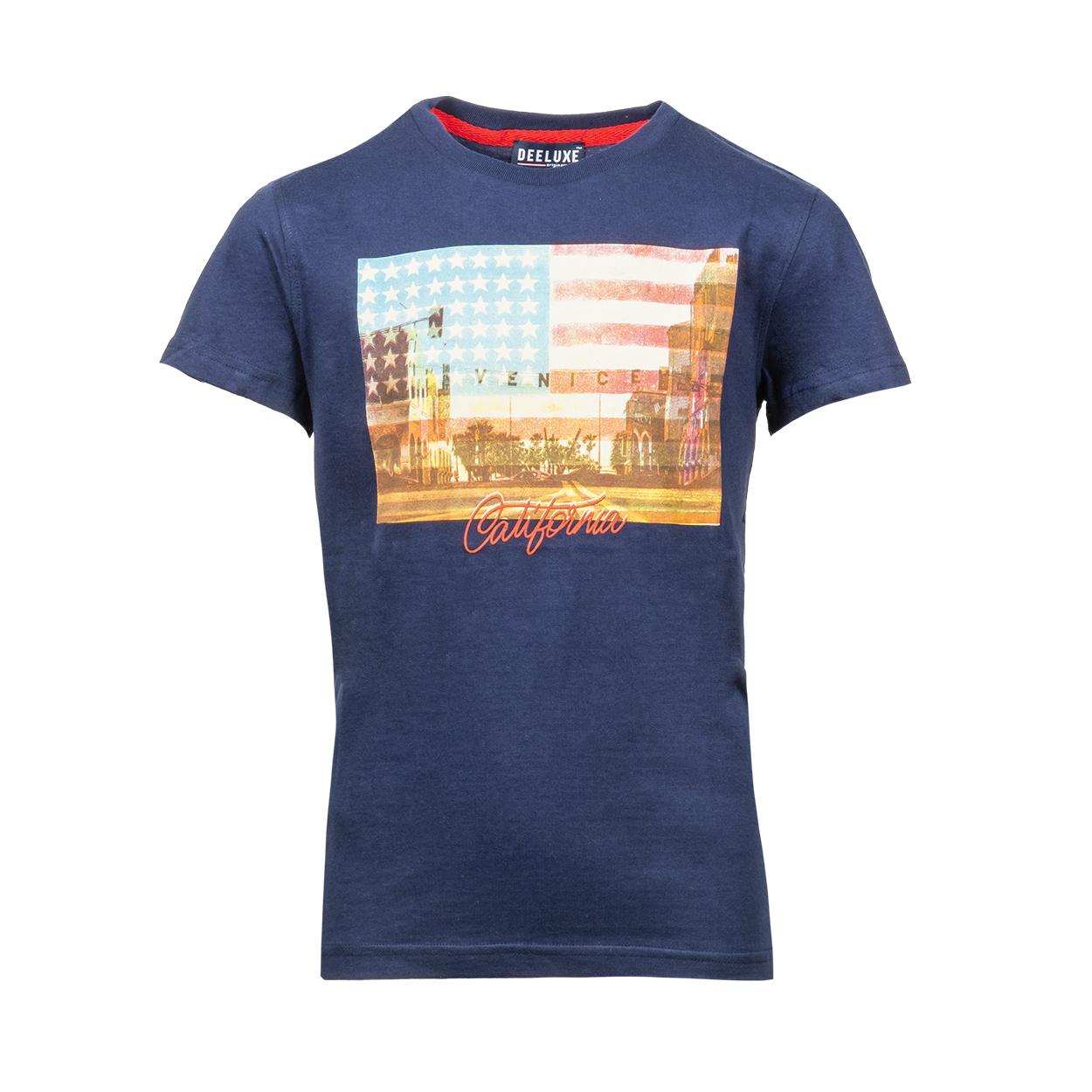 Tee-shirt col rond  cali en coton bleu marine floqué
