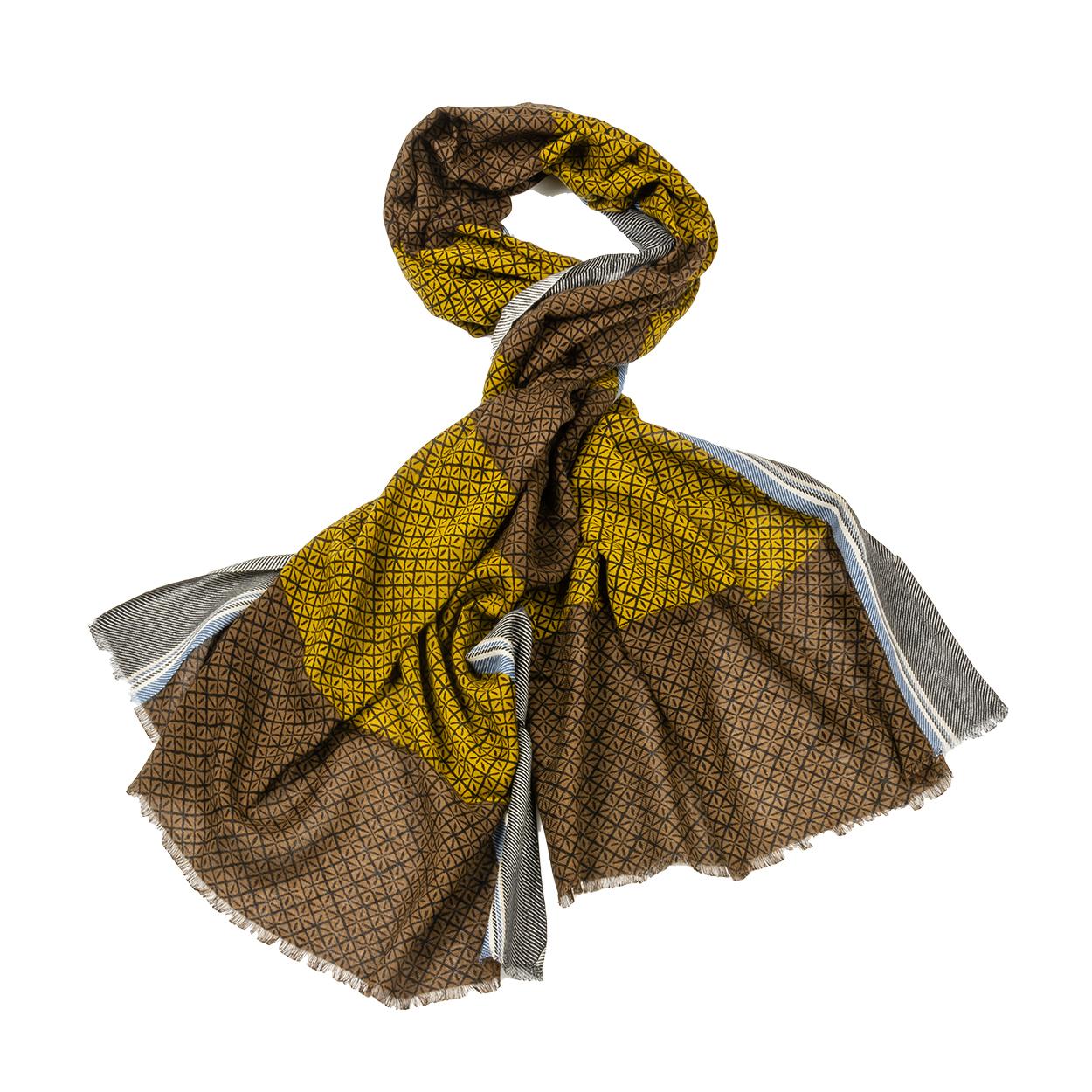 Chèche  coregon en coton mélangé marron et jaune moutarde à micro motifs noirs
