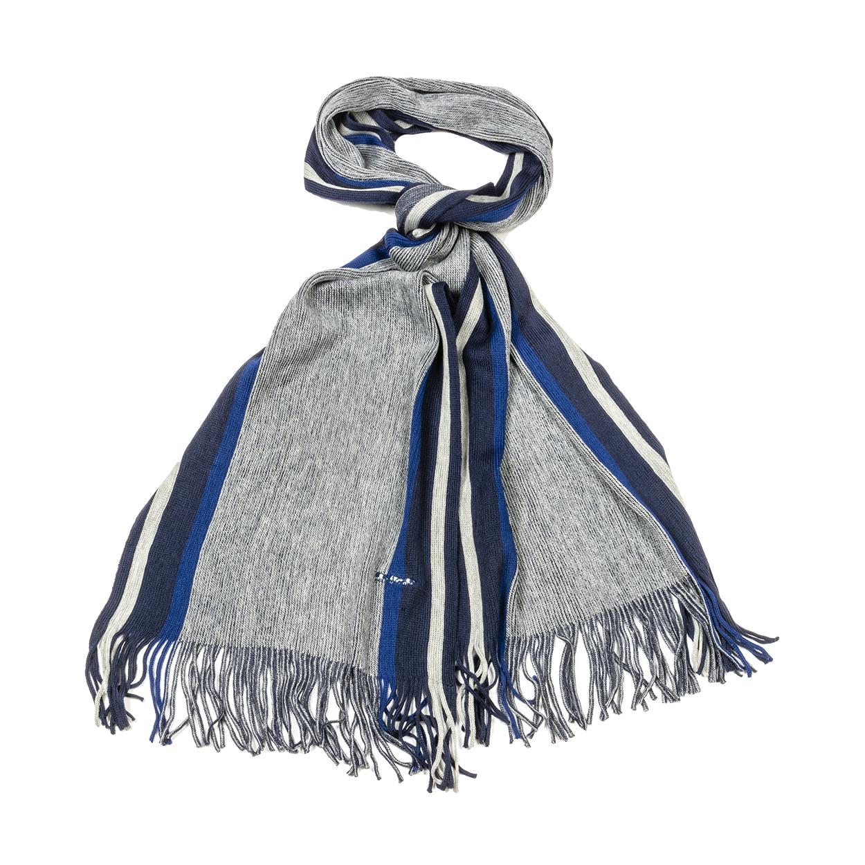 Echarpe  olive en laine mélangée grise, bleu indigo et bleu marine