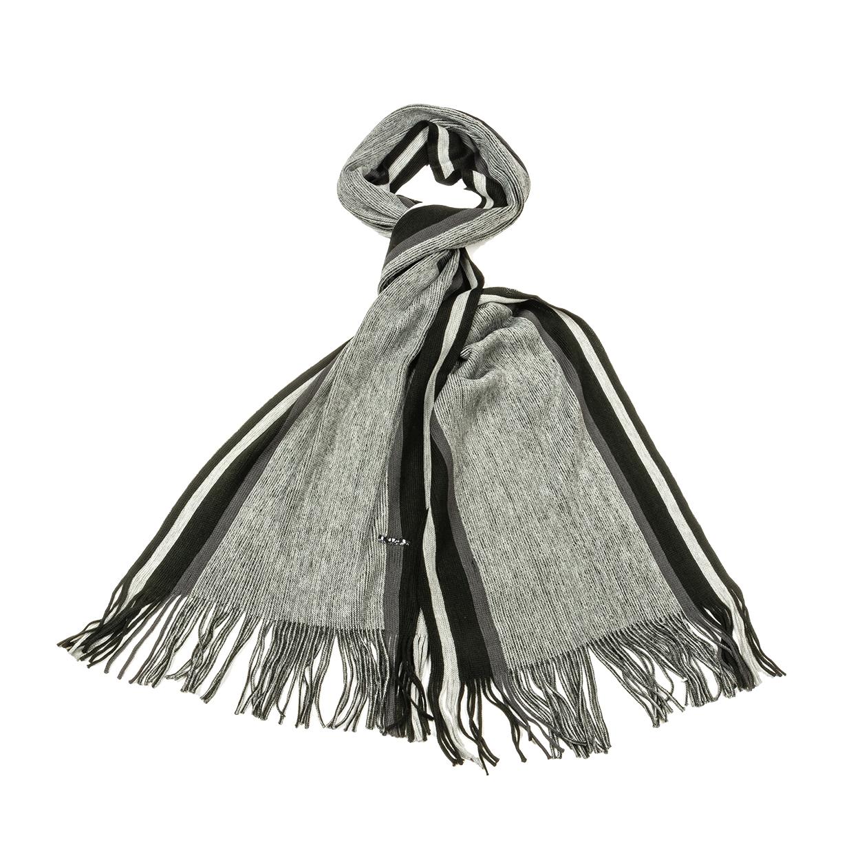 Echarpe  olive en laine mélangée noire et grise