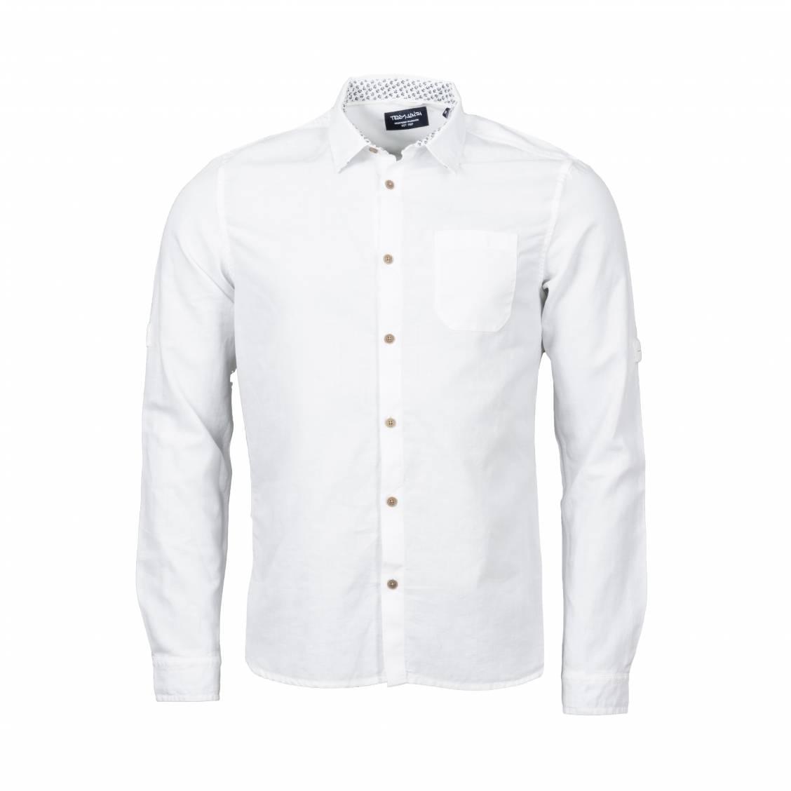 Chemise droite Teddy Smith Ezra en coton et lin blanc