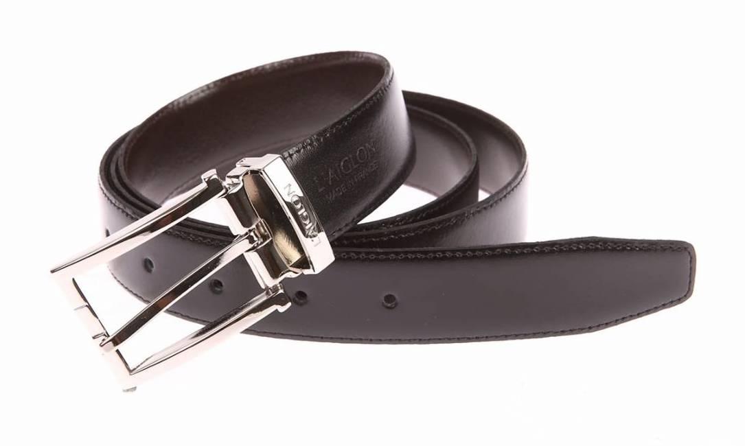Coffret cadeau L'aiglon Made in France : ceinture ajustable noire réversible marron à boucle rectangulaire pleine argentée à empiècement noir et boucle argentée rectangulaire à ardillon