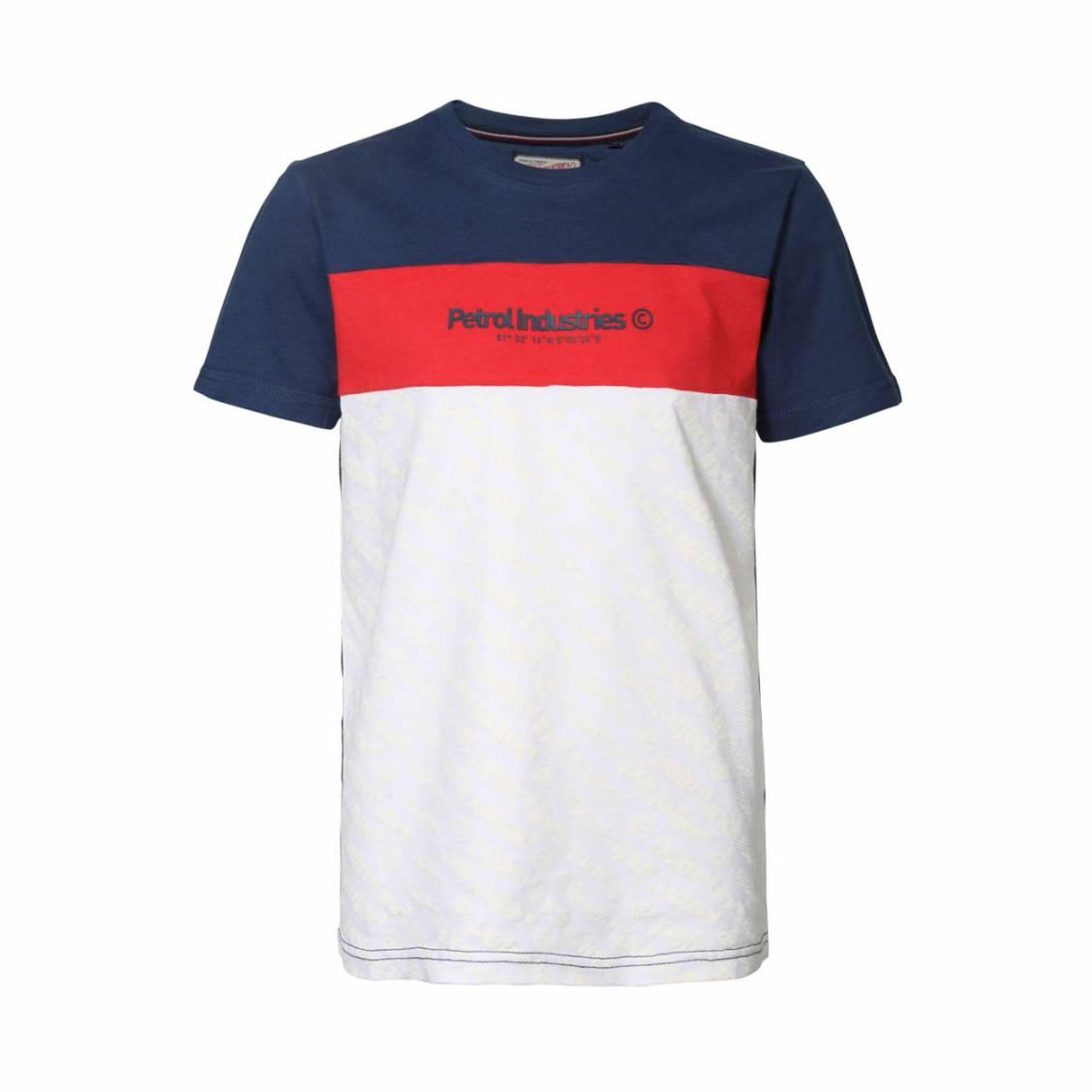 Tee-shirt col rond Petrol Industries en coton colorblock bleu, rouge et blanc