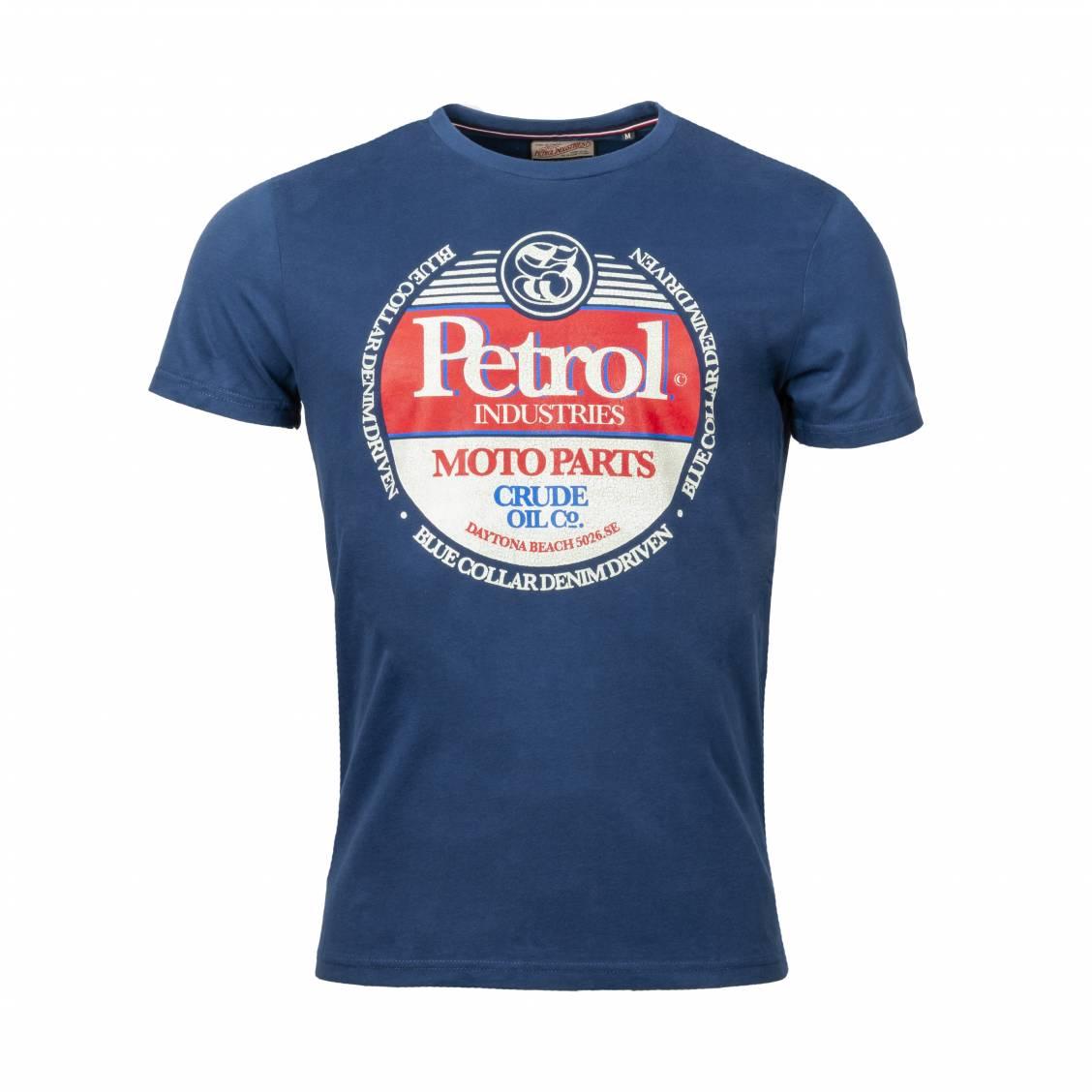Tee-shirt col rond Petrol Industries en coton bleu marine floqué